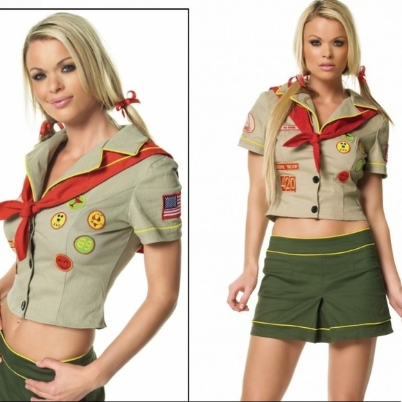 Leg Avenue Tops Nwot Naughty Campfire Girl Scout Patched Costume